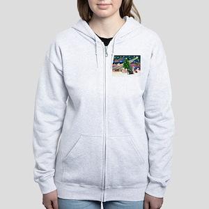 XmasMagic/3 Lhasas Women's Zip Hoodie