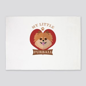 Little Furball Pomeranian 5'x7'Area Rug