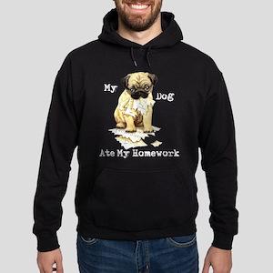 Pug Ate Homework Hoodie (dark)