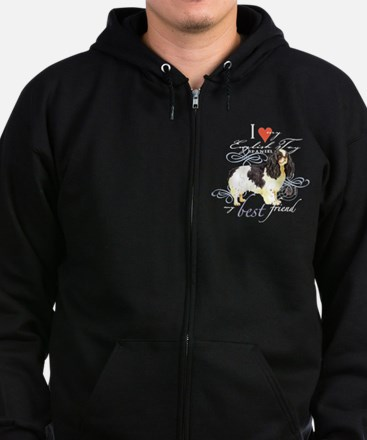 English Toy Spaniel Zip Hoodie (dark)