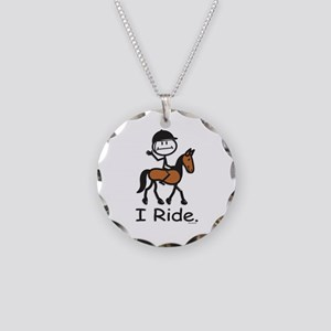 English Horse Riding Stick F Necklace Circle Charm