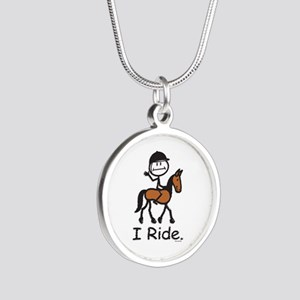 English Horse Riding Stick F Silver Round Necklace