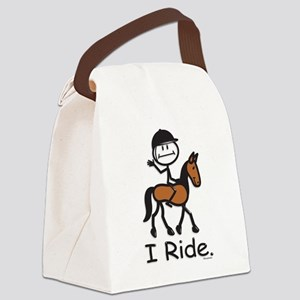 English Horse Riding Stick Figure Canvas Lunch Bag