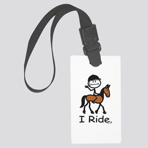 English Horse Riding Stick Figur Large Luggage Tag