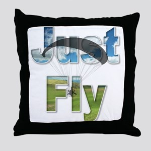 Just Fly Powered Paragliding Throw Pillow