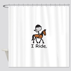 English Horse Riding Stick Figure Shower Curtain