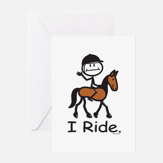 English Horse Riding Stick Figure Greeting Card