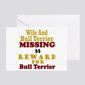 Wife & Bull Terrier Missing Greeting Card