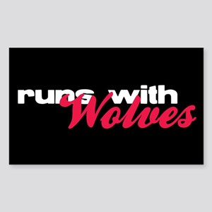 Runs With Wolves Rectangle Sticker