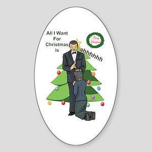 Xmas Wishes Oval Sticker