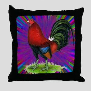 Colorful Gamecock Throw Pillow