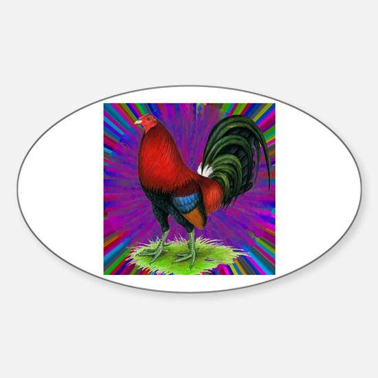 Colorful Gamecock Sticker (Oval)