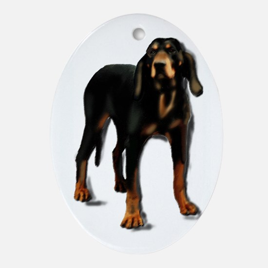 black and tan hound Oval Ornament