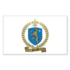 PLOURDE Family Crest Rectangle Decal