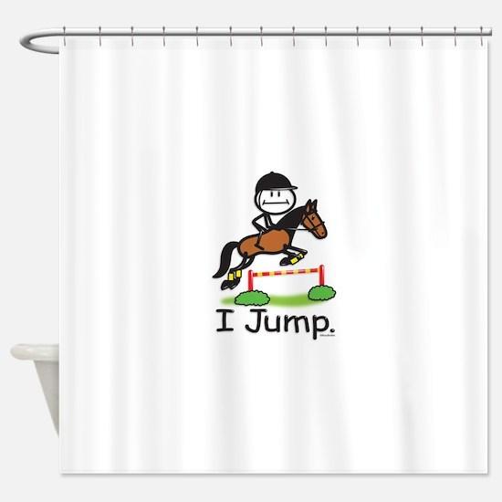 Horse Jumping Stick Figure Shower Curtain