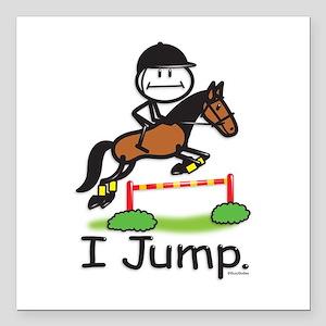 """Horse Jumping Stick Figu Square Car Magnet 3"""" x 3"""""""