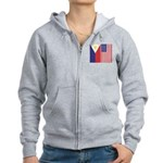 Philippine Flag & US Flag Women's Zip Hoodie
