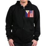 Philippine Flag & US Flag Zip Hoodie (dark)