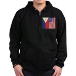 Philippine Flag & US Flag Zip Hoodie (dark)