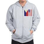 Philippine Flag & US Flag Zip Hoodie