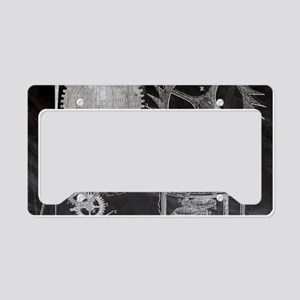 chalkboard steampunk gear clo License Plate Holder