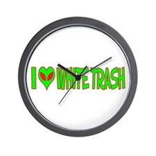 I Love-Alien White Trash Wall Clock