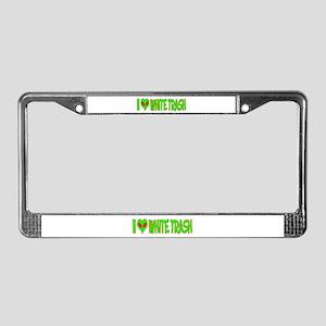 I Love-Alien White Trash License Plate Frame