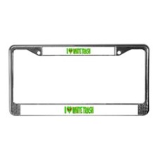 I Love-Alien White Trash License Plate Frame