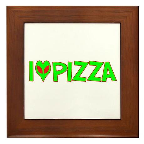 I Love-Alien Pizza Framed Tile
