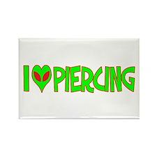I Love-Alien Piercing Rectangle Magnet