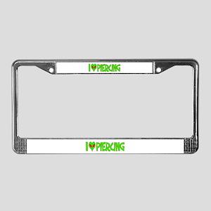 I Love-Alien Piercing License Plate Frame