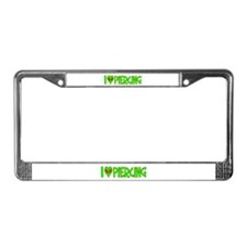 I Love-Alien Piercing License Plate Frame