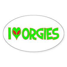 I Love-Alien Orgies Oval Sticker