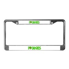 I Love-Alien Orgies License Plate Frame