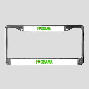 I Love-Alien Obama License Plate Frame