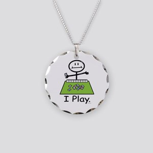 Mahjong Stick Figure Necklace Circle Charm