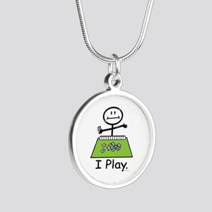 Mahjong Stick Figure Silver Round Necklace