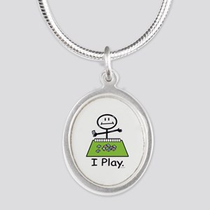 Mahjong Stick Figure Silver Oval Necklace