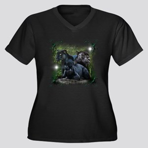 Black Jaguar Women's Plus Size V-Neck Dark T-Shirt