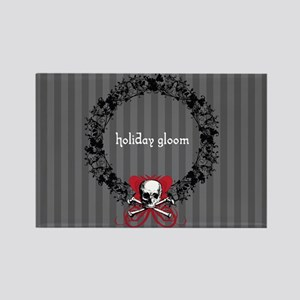 Holiday Gloom Skull Wreath Rectangle Magnet
