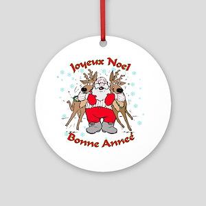 French Santa & Reindeer Ornament (Round)