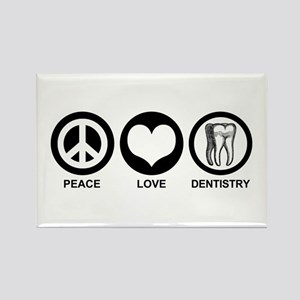 Peace Love Dentistry Rectangle Magnet
