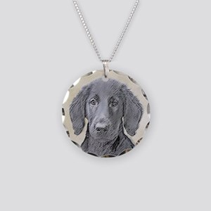 Flat-Coated Retriever Necklace Circle Charm