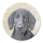Flat-Coated Retriever Round Car Magnet