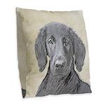 Flat-Coated Retriever Burlap Throw Pillow
