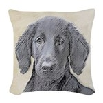 Flat-Coated Retriever Woven Throw Pillow