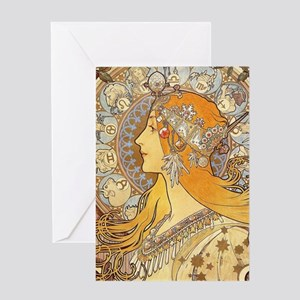 Alphonse Mucha Zodiac Woman Art Nou Greeting Cards