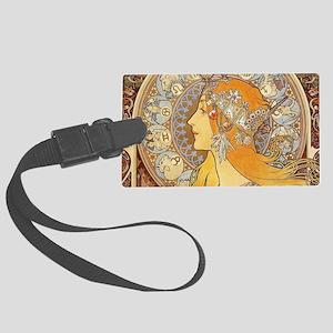 Alphonse Mucha Zodiac Woman Art Large Luggage Tag