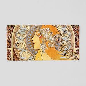 Alphonse Mucha Zodiac Woman Aluminum License Plate