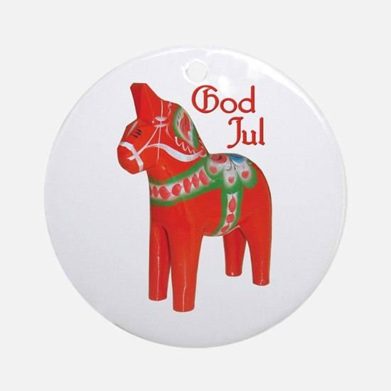 God Jul Dala Ornament (Round)